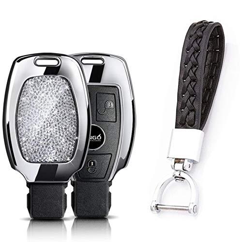Yuwaton Bling Car Remote Key Rhinestone Cover Case for Mercedes-Benz A B C E Class GLA GLC GLE GLS 180 220 260 300 400 500 Remote Control Case ()