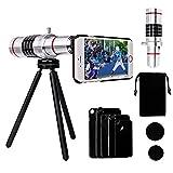 Telephoto lens for iphone, Yarrashop Camera Lens Kit Including 18x Aluminum Telephoto Lens + Aluminum Mini Tripod + Hard Case + Velvet Bag for iPhone 7 Plus/ 7/ iPhone 6s Plus/ 6s/ 6 Plus/ 6/ 5s/ 5