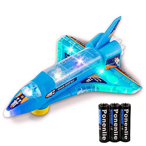DeVan Bump and Go Electric Space Shuttle Airplane Toy with Flashing 3D Lights and Sounds (Battery Included)