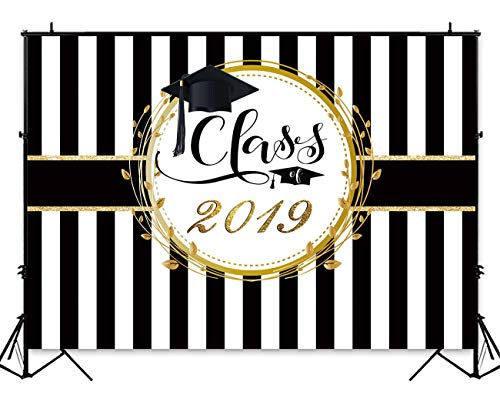 Funnytree 8x6ft Durable Fabric Graduation Party Backdrop No Wrinkles Class of 2019 Black and White Stripes Photography Background Congrats Grad Prom Decor Photo Studio Booth Props Cake Table Banner -