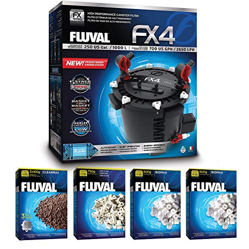 Fluval FX4 Filter w/Clearmax, Pre-Filter Media & Biomax (18 Month Supply)
