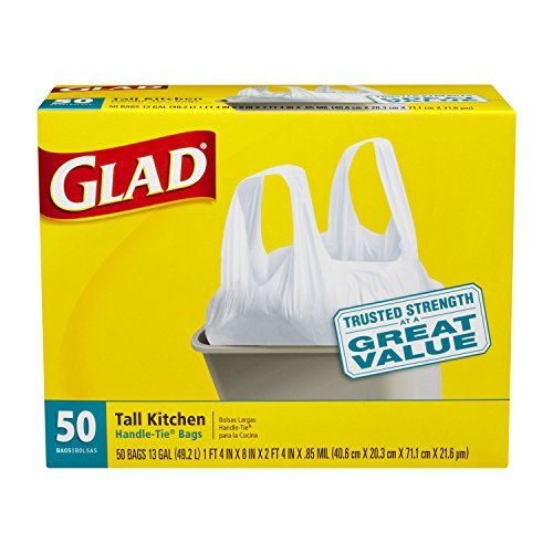 Glad Tall Kitchen Handle-Tie Trash Bags, 13 Gallon, 50 Co...