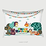 Custom Satin Pillowcase Protector Happy Birthday Lovely Vector Card With Funny Cute Animals And Garlands Modern Vector Style 547619020 Pillow Case Covers Decorative