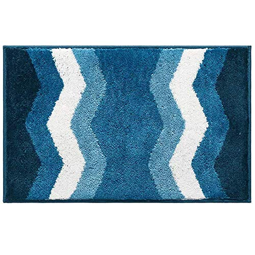 (MORECARE Bathroom Rugs, Blue Chevron Pattern Microfiber Soft Non-Slip Absorbent Machine-Washable Bathroom Bedroom Kitchen Entryway Door Mat Floor Rug Carpet, 20 x 32 Inch)