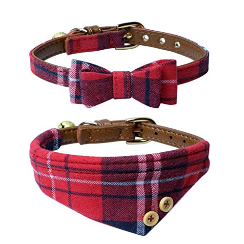The creativehome Dog Cat Collars Leather for Small pet,Adjustable Bow-tie and Scarf Puppy Collars with Bell,Cute Plaid Red Bandana Dog Collar(2 pack) ()