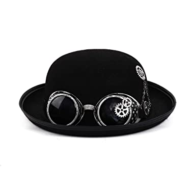 Amazon.com  Arsimus Steampunk Felt Bowler Derby Hat with Goggles and Gears   Clothing 68e4df8ed8a