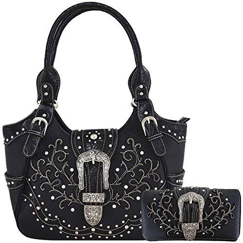 Western Style Tooled Leather Buckle Concealed Carry Purse Country Handbag Women Shoulder Bag Wallet Set (Black Set)