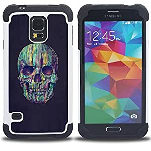 - SKULL TEAL GREY VIGNETTE DEATH PURPLE - - Doble capa caja de la armadura Defender FOR Samsung Galaxy S5 I9600 G9009 G9008V RetroCandy