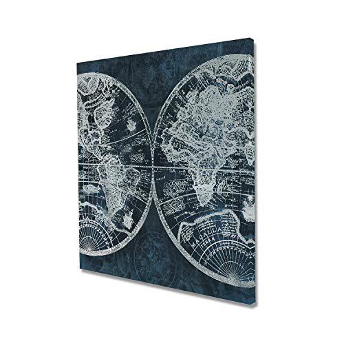 - Fox Art Oil Painting on Canvas Global World Maps Indigo Navy Blue Canvas Prints Handmade Paintings with Silver Metallic Foil Wall Decor for Living Room Office Stretched and Framed Ready to Hang 32x32