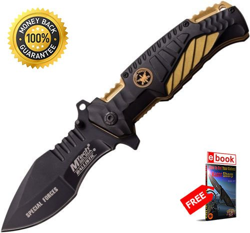 (Tactical M tech A944TN Special Forces Folding Knife Black Tan Handle razor sharp strong durable blade survival camping hunting fishing EDC military knife eBOOK by MOON KNIVES)