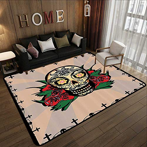 Personalized Floor mats,Mexican Decorations,Sugar Skull with Red Rose and Cross Spooky Halloween Horror Mystic Art Theme,Multi 78.7