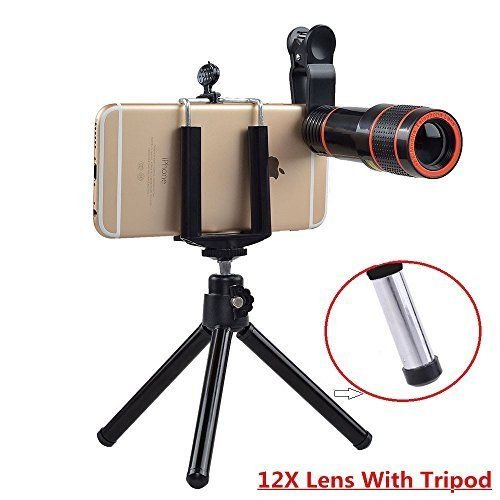 Passion store Smartphone Camera Lens 12X Telescope,Camera Phone Lens with Tripod, Camera Lens Kit +Fish Eye Lens+ Wide Angle Lens+ Macro Lens for iPhone X 8 7 6 Plus and Android by Passion Store (Image #1)