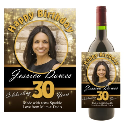 (Personalised WINE BOTTLE PHOTO LABEL ~ Happy Birthday Gift Idea N9 by personalised party products)