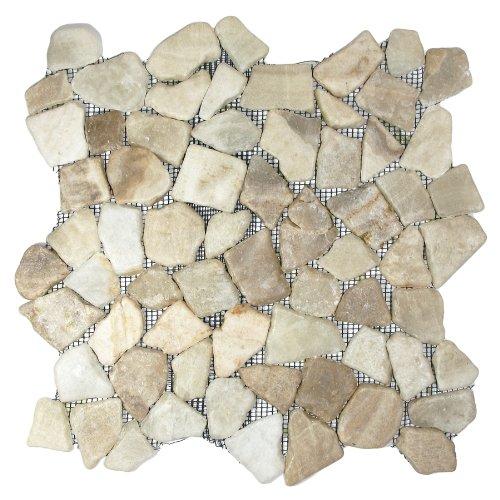 - Glazed Mixed Quartz Mosaic Tile 1 sq.ft. (Mesh Mounted)