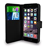 Black Leather Flip Wallet Slim Case Cover Pouch With Card Holder For Apple iPhone 6 6S (4.7'') and Screen Protector With Polishing Cloth And Stylus Pen (Black)