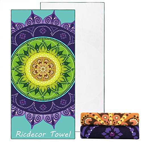 Ricdecor Beach Towel Large Mandala Beach Towel Blanket with Tassels Ultra Soft Super Water Absorbent Multi-Purpose Beach Throw 59 inch Across (NO.32)