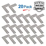 WEBI Heavy Duty Stainless Steel Corner Braces,L Right Angle Brackets, Joint Fastener, Shelf Support for Wood Furniture, Chests, Screens, Windows, Brushed Finish,RG-PMJM-L-50X50X1-20