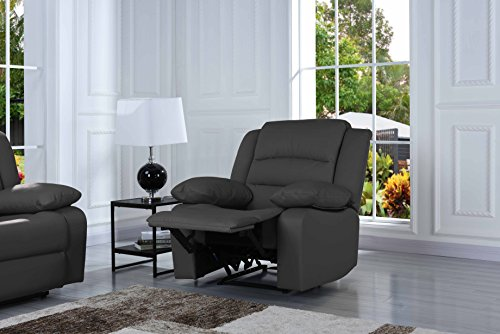 Traditional Classic Reclining Sofa Set - Real Grain Leather - Double Recliner, Loveseat, Single Chair (Grey)