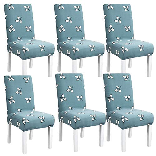 Green Floral Soft Spandex Fit Stretch Short Dining Room Chair Covers, Banquet Chair Seat Protector Slipcover for Home Party Hotel Wedding Ceremony 6PC Set