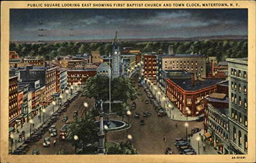 Public Square looking East Showing First Baptist Church and Town Clock Original Vintage - East Town Square