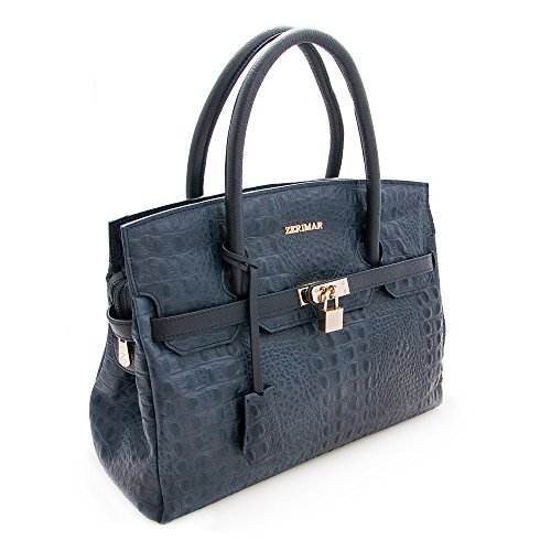 para Piel Color Zerimar Mujer Mano marino Mujer Azul de azul para Bolso de de Mano Mujer Bolsos Mar Bolso 38x30x10 Bolso Grande Medidas WrCaCt4