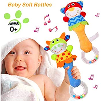 Eenbei Soft Shaker Rattle Toys for Baby 6-12 Months Stick Rattle Stuffed Animals Developmental Toy with Handle Grip Toys for Infants with Sound Set of 2