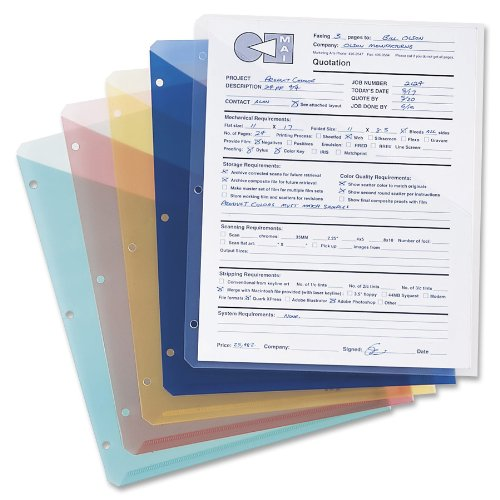 - Smead Organized Up Poly Translucent Slash File Jacket, Three-Hole Punched, Letter Size, Assorted Colors, 5 per Pack (89505)
