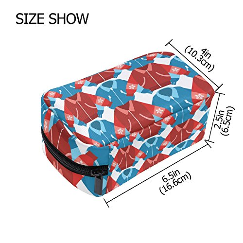 ALAZA Winter Sport Jackets Cosmetic Bag Black Zipper Storage Bag Portable Ladies Travel Square Makeup Brushes Bag(6.5''x 2.5''x 4'') by ALAZA (Image #3)