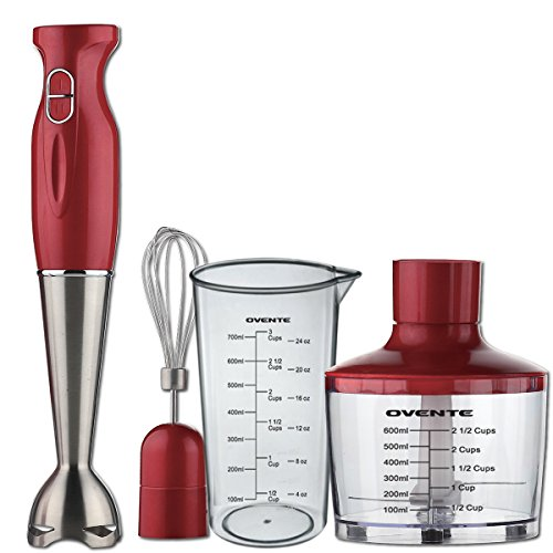 Ovente Multi-Purpose Immersion Hand Blender Set – 300-Watts, 2-Speed – Stainless Steel Blades and Detachable Shaft – Includes Food Chopper, Egg Whisk, and BPA-Free Beaker (24 oz) – Red (HS585R)