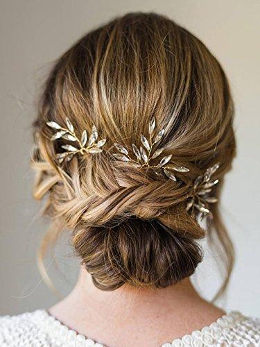 Aegenacess Wedding Hair Pins Rhinestones Crystal Leaf Bridal Hair Pin Clips Combs for Brides and Bridesmaids, Women and Girls (Set of 3) #205