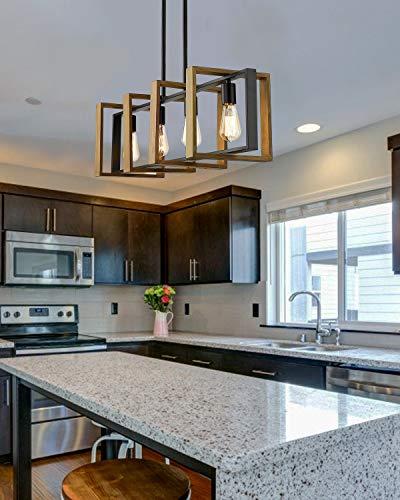 Ken & Ricky Kitchen Island Lighting, 4 Light Dining Room Lighting Fixtures Hanging, Farmhouse Linear Chandelier, Rustic…