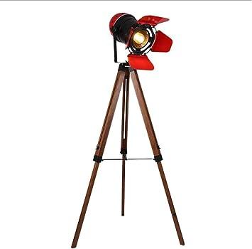 WEHOLY Piso Led Home Trípode Vintage Accesorios de iluminación Reflector Retro Foco Teatro Luz Piso Led Industrial Lámparas de pie de Madera industriales H150cm (Color: Rojo, Tamaño: 60 * 150cm): Amazon.es: Deportes