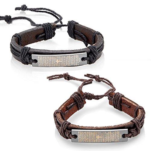 West Coast Jewelry Men's Genuine Leather Lord's Prayer Adjustable Bracelets - 2 Pack