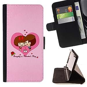 BullDog Case - FOR/Sony Xperia M2 / - / Happy Valentines Day /- Monedero de cuero de la PU Llevar cubierta de la caja con el ID Credit Card Slots Flip funda de cuer
