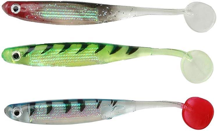 Soft Fishing Lures Soft Jerk Baits 3D Lifelike 10pcs Paddle Tail Swimbaits