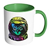 Rainbow Astronaut Space Cat | Funny and Cool White 11 oz Accent...