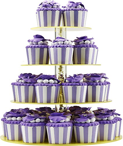 Cupcake Stand and Towers - Unique Bubble Rod, 4 Tier, Tint Yellow, Round, Hold 38 pieces Cupcakes, for Wedding Party Birthday