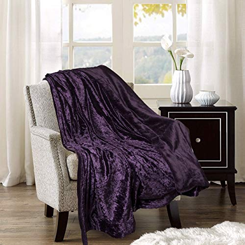 Adorn & Décor Crushed Velvet Reversible Plush Throw Blanket, Shiny Flannel ()