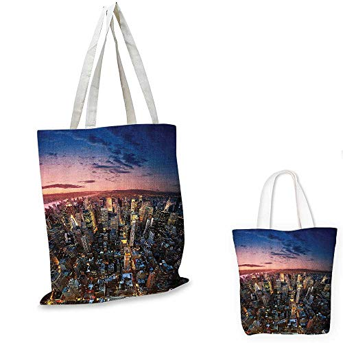 NYC Decor Collection shopping bag Manhattan At Last Sunlights of The Day Metropolitan Downtown Roofs State Structure foldable shopping bag Pink Navy Yellow. ()