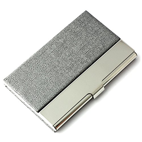 (Partstock Unisex Business Name Card Holder 304 Stainless Steel & PU Leather Credit Card Case / ID Case.Keep Your Business Cards Clean,Perfect Gift - Grey )