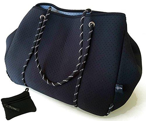 Light Designer Tote Bag for Women, Neoprene Shoulder Carry Hobo Bag, Large & Durable in Stallion Black ()