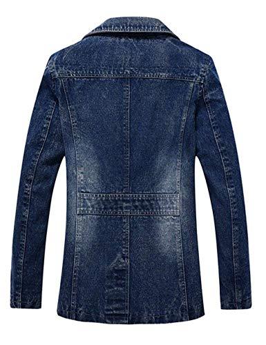 Giovane Vintage Denim Manica Jeans Collar Capispalla Uomo Giacca Risvolto Trench Inverno Slim Decal Fit Lunga Cappotto Coat Di Blau Autunno Giacche nYzwtqWdcq
