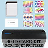50 ID Card Kit - Laminator, Inkjet Teslin, Butterfly Pouches, and Holograms - Make PVC Like ID Cards
