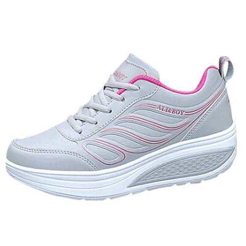 separation shoes f9060 6cb30 Ansenesna Sneaker Damen Leder Dicke Sohle Flach Elegant ...