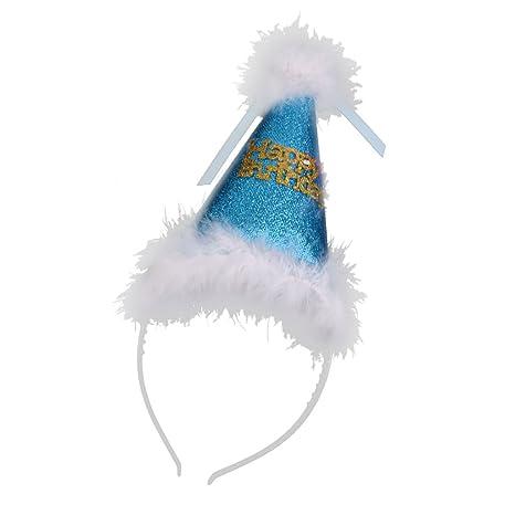 MagiDeal Cappello di Compleanno con Piuma Pallina Bambini Adulto Costume  Celebrazione Happy Bithday - Blu ee6419fc2855