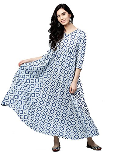 2862623557 Leda Women Blue & White Printed Cotton Indian Ethnic Anarkali Kurta Tunic  Long Dress (M)