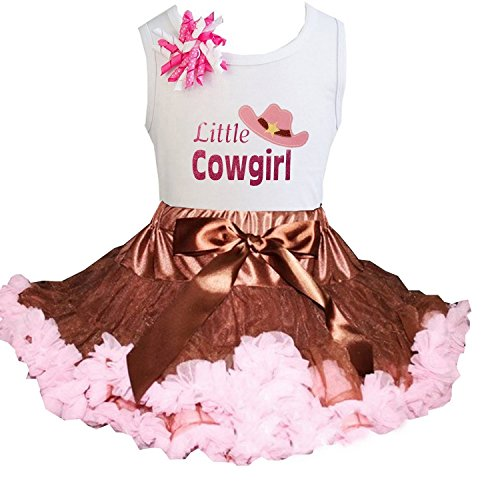 Kirei Sui Brown Light Pink Pettiskirt & Little Cowgirl Tee Small (Little Cowgirl Outfits)