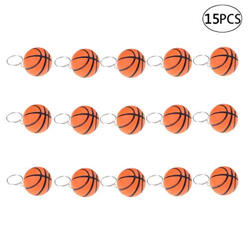 iMagitek 15 Pack Orange Basketball Keychains for Kids Party Favors Supplies, School Carnival Prizes, Party Bag Gift Fillers, Basketball Stress Relieve Ball -