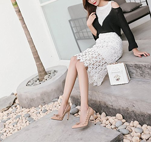 KHSKX-Aprikosen 8.5Cm Schuhe Frauen High Heels Mit Nieten Fallen Sagte Asakuchi Schuhe Thirty-seven
