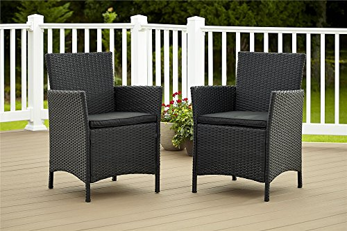 Cosco Dorel Industries Outdoor Jamaica Resin Wicker Dining Chair, Charcoal with Cushions, Set of 2 (Resin Patio Chair Cushions)